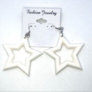 So 90s White Star Earrings